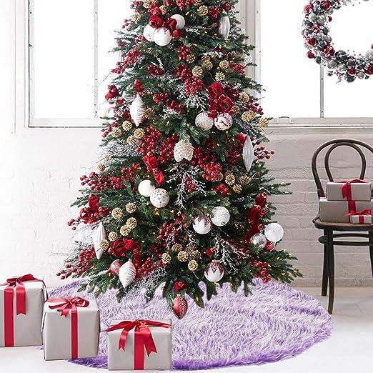 znwiem - Falda Larga para árbol de Navidad, Morada, Felpa ...