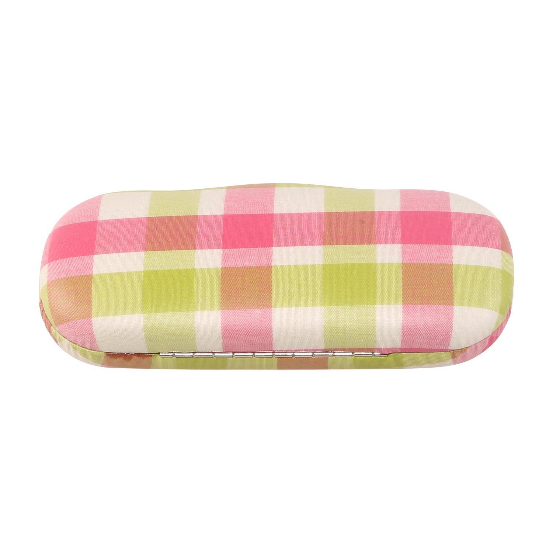Floral Neoviva con revestimiento de tela gafas duro maletín para pequeñas y medianas Marcos multicolor Plaid Mellow Green Pink