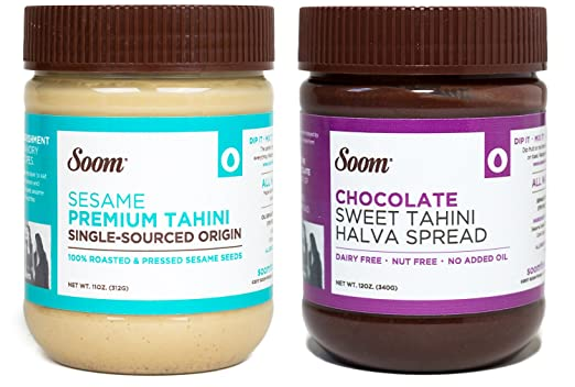 Soom Foods Pure Ground Sesame Tahini Paste Two Flavor Sampler: (1) Sesame Tahini 11oz and (1) Chocolate Sesame Tahini 12oz