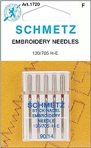 25 Schmetz Embroidery Sewing Machine Needles 130/705H H-E Size 90/14