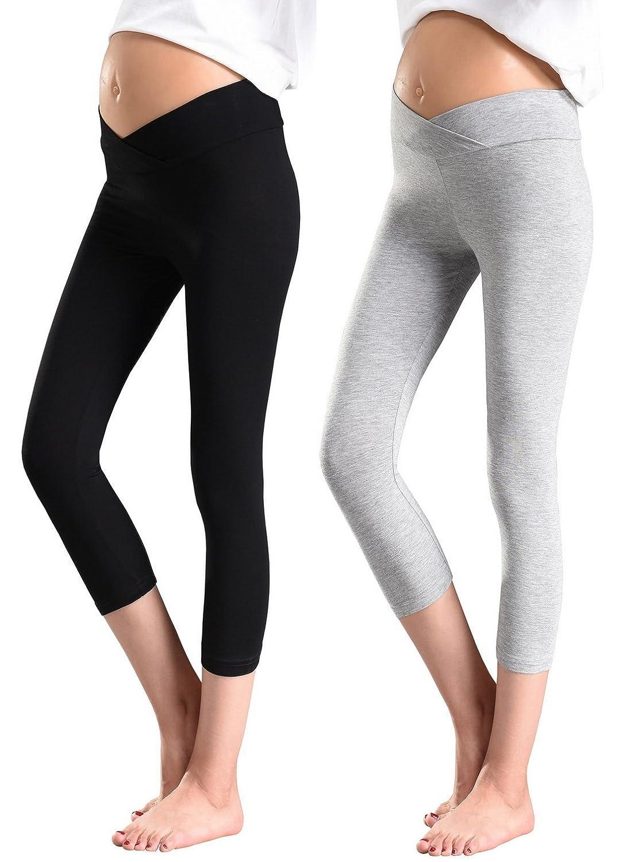 Foucome PANTS レディース B07DK83B7H US M (Label XXL)|3061-capri Leggings-black+gray 3061-capri Leggings-black+gray US M (Label XXL)