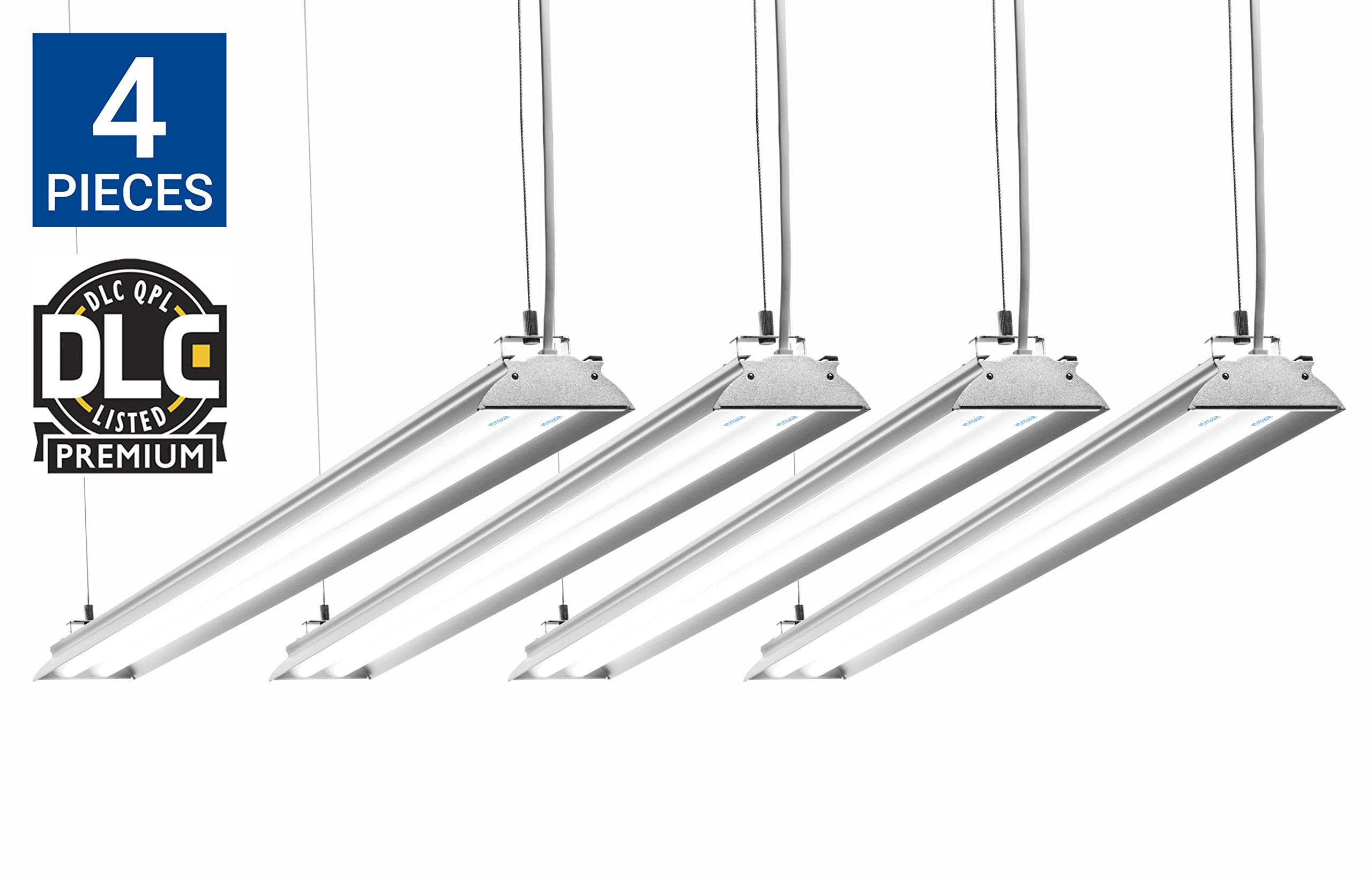 HyperSelect Utility LED Shop Light, 4FT Integrated LED Fixture Garage Light, DLC 4.2 Premium Qualified, 35W (100W Eq.), 3800 Lumens, 5000K (Crystal White Glow), Frosted Cover - Pack of 4