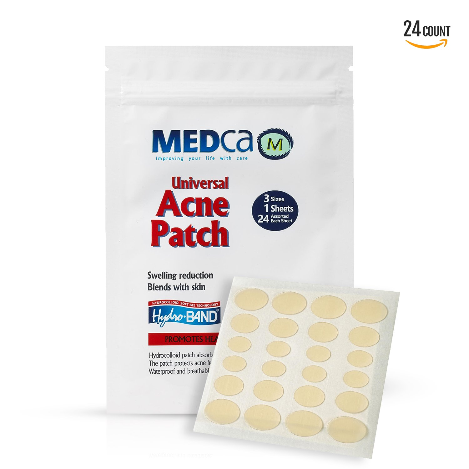Acne Absorbing Covers - Hydrocolloid Acne Care Bandages (24 Count) Three Universal Patch Sizes, Acne Blemish Treatment for Face & Skin Spot Pore Patch that Conceals, Reduce Pimples and Blackheads MEDca
