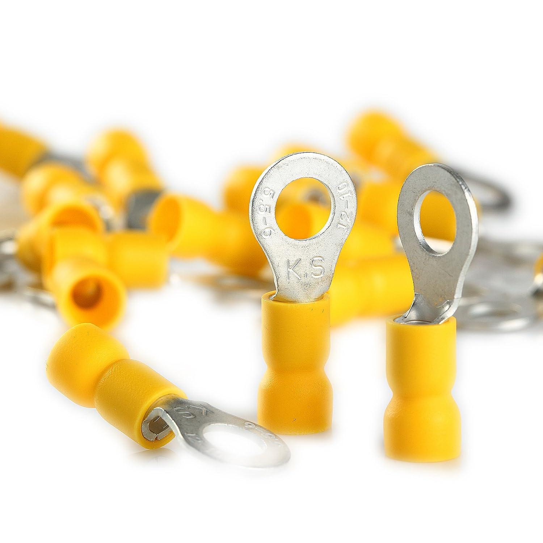 100 Pack Wire Ring Terminals Vinyl Yellow 12-10 Gauge Car Audio Connectors 1//4