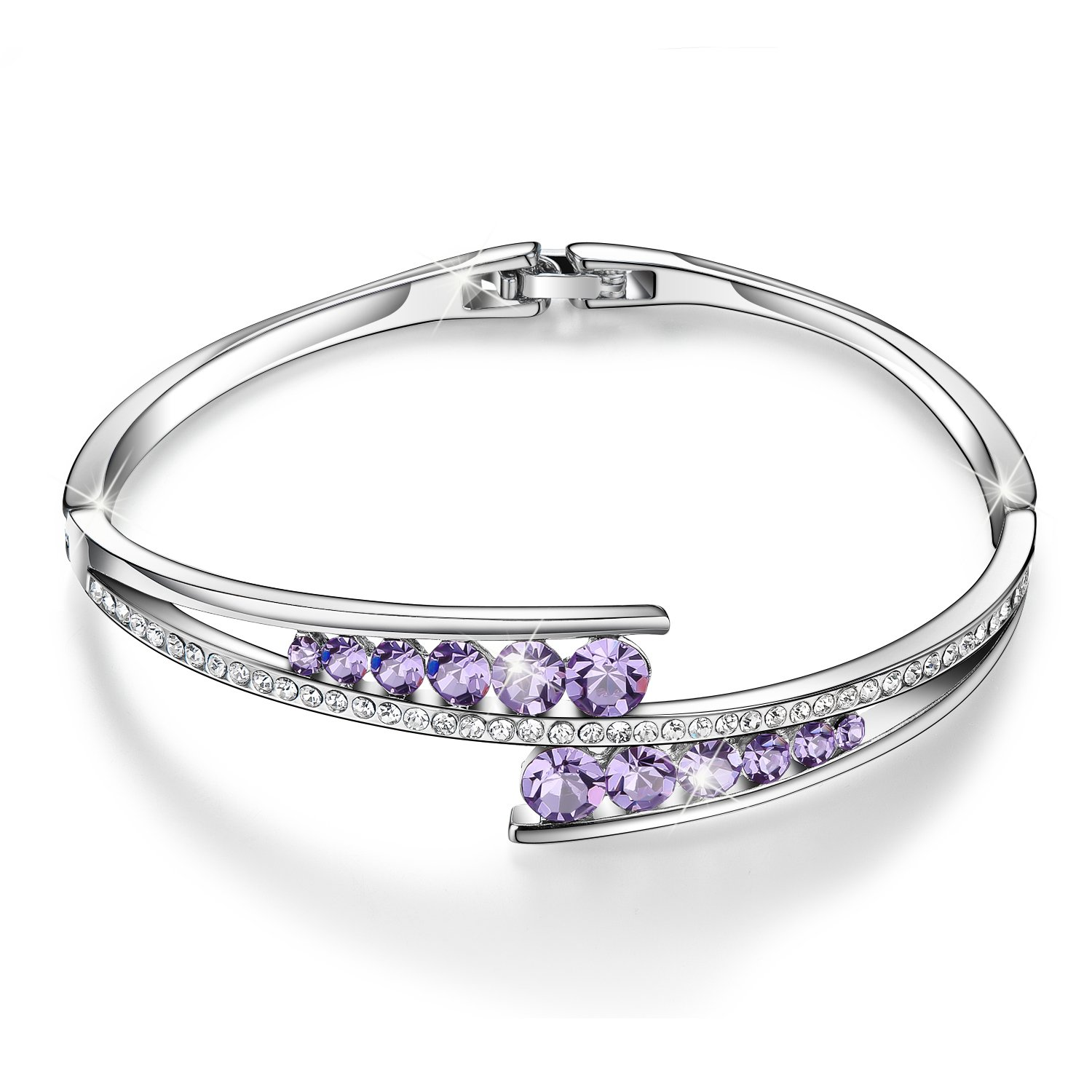Menton Ezil ''Love Encounter Purple Amethyst White Gold Plated Bracelet Fashion Jewelry Her Anniversary