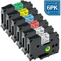 ASprinte 6PK 12mm Color Combo Label Tape Compatible Brother TZe-131 TZe-231 TZe-431 TZe-531 TZe-631 TZe-731 P Touch Label Maker 8m