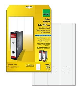 Sigel LA450 Etiquetas para archivadores (Ink/Laser/Copy), 61x297 mm (A4), 75 Et.=25 hojas: Amazon.es: Oficina y papelería