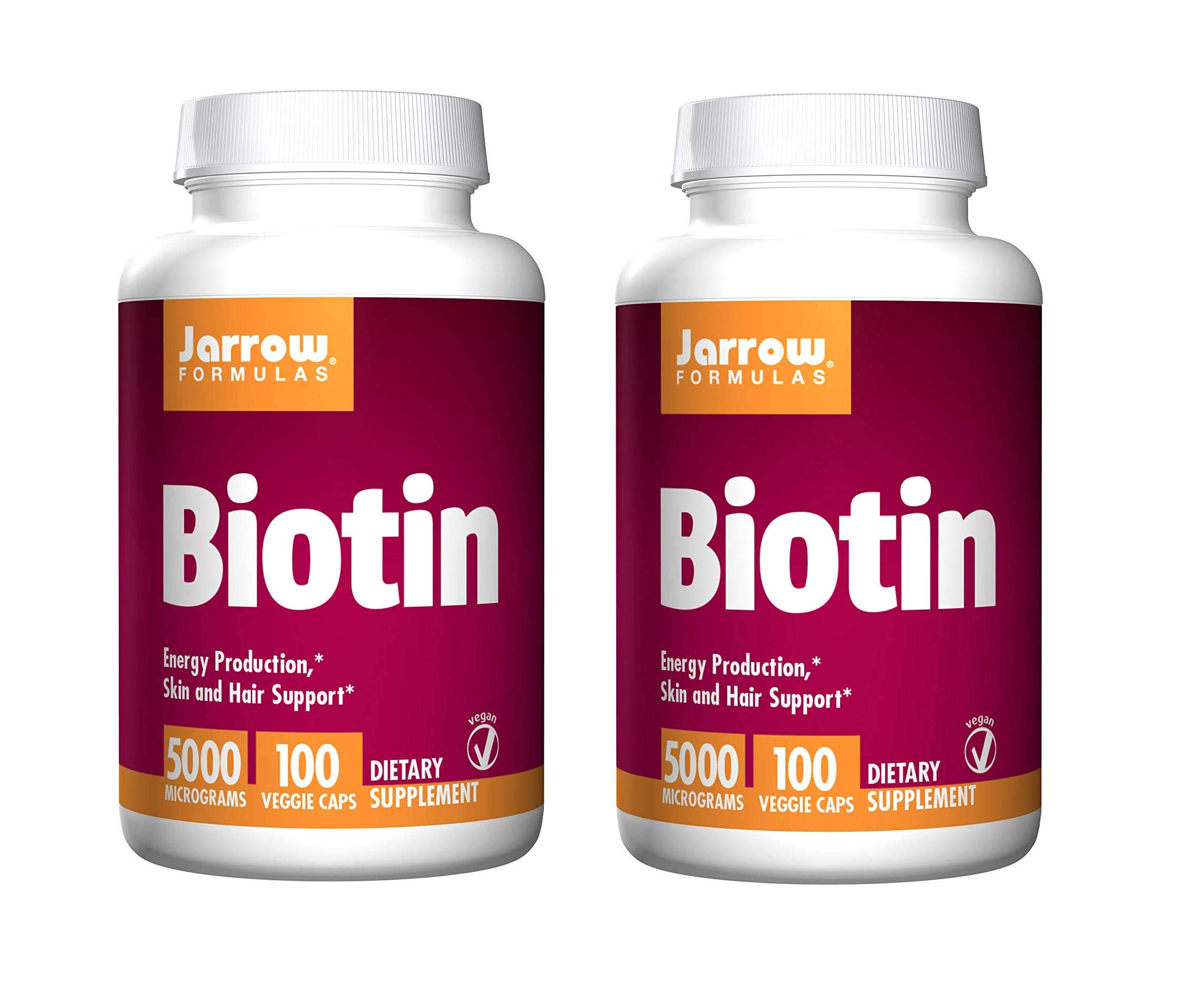 Jarrow Formulas Biotin for Energy Production, Skin and Hair Support 5000 Micrograms (100 Veggie Caps) Pack of 2