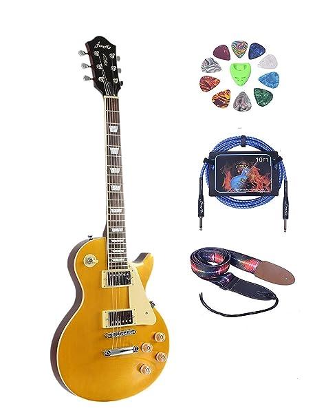 Tamaño completo guitarra eléctrica (2 V & 2T) con púas, cable y correa