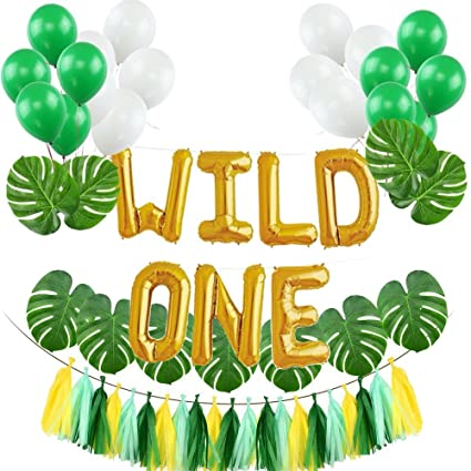 Muhuyi Wild One Birthday Decorations Kit 16 Inch WILD ONE Balloons With 12 Pcs Artificial