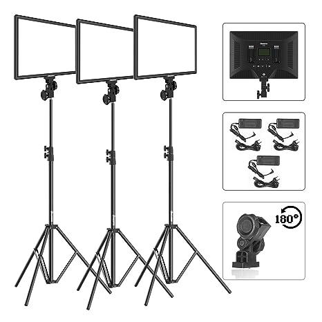 Dazzne D50 Luz de Video Kit de 3 Paquetes con Soporte de Luz 3000K-5800K