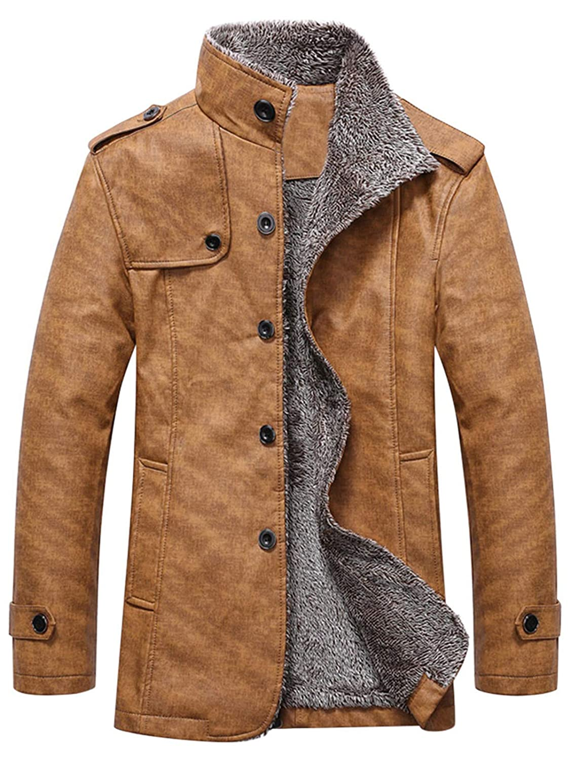 AATop Men's Casual Sherpa Fleece Lined Jacket Warm Coat with Fur Collar Button Winter Quilted Coat