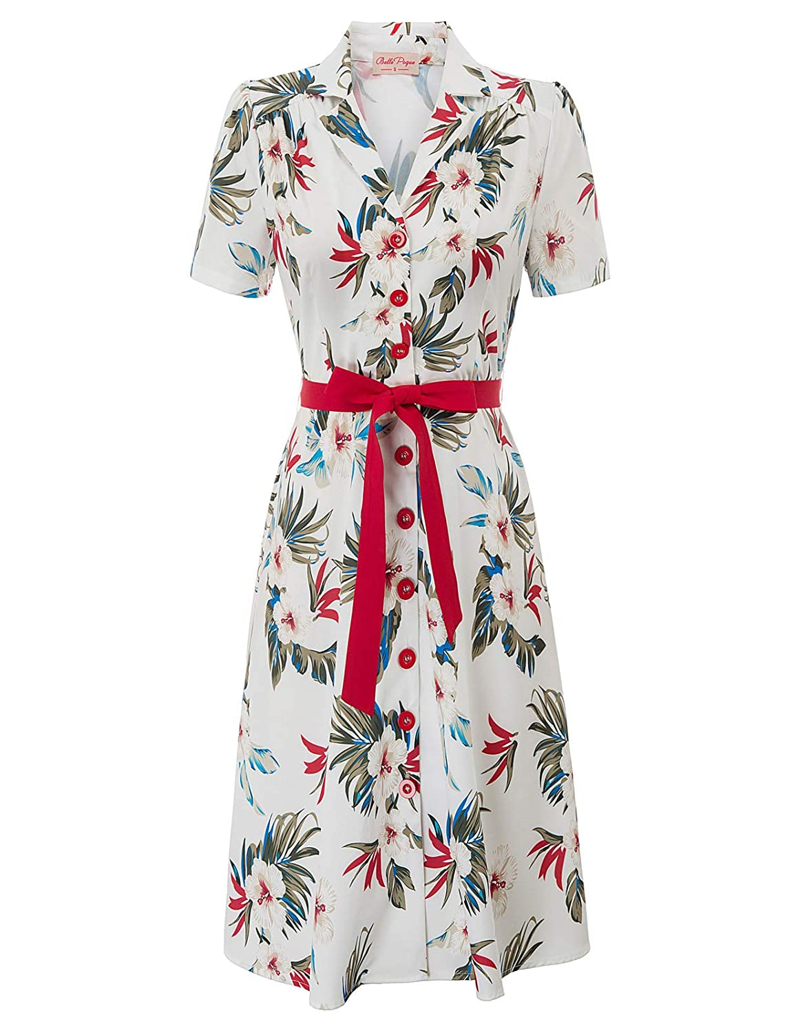 Retro Tiki Dress – Tropical, Hawaiian Dresses Belle Poque Women Vintage Floral Print Midi Dress 1950s Tea Dress with Belt BP878 $27.99 AT vintagedancer.com