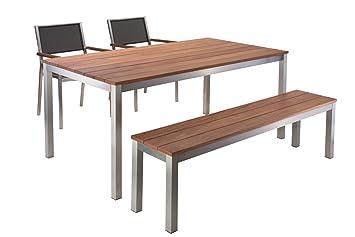 Amazon De Gartentisch Como Edelstahl 75 Cm Breit Cumaru Holz 100 X