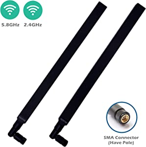 TECHTOO WiFi Antenna Dual Band 9 dBi 2.4/5.8GHz for Router AP - Security IP Camera - USB Card Adapter - PCI PCIe Cards - Range Extender - PC Desktop - Drone - PS4 Build (SMA-Plug 2-Pack)