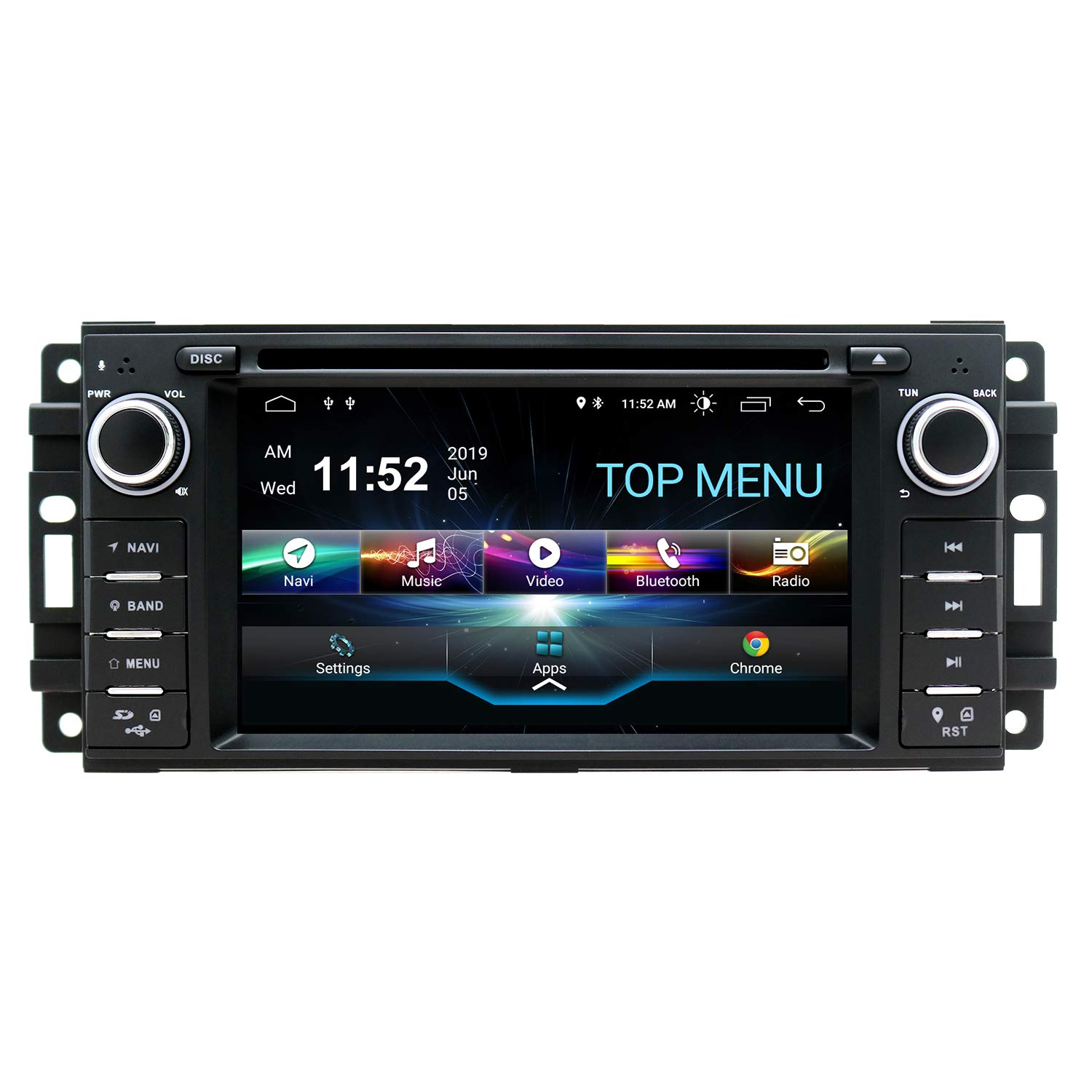 SWTNVIN Android 10 Car Stereo Navigation Fits for Jeep Wrangler Dodge Chrysler 2GB RAM 32GB ROM LD Touch Screen Multimedia Indash DVD Player support GPS Bluetooth Wifi teering wheel with Backup Camera