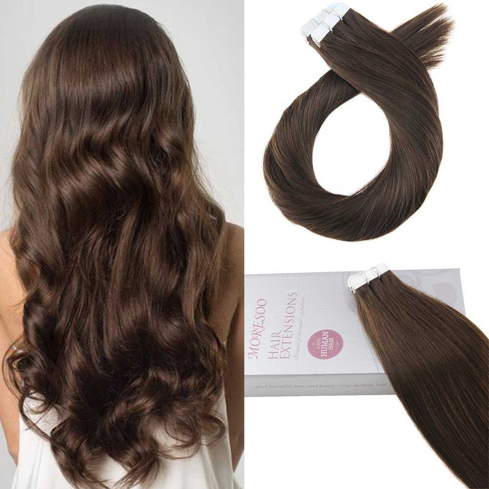 Amazon Moresoo 20 Inch Hair Extensions Tape In Human Hair