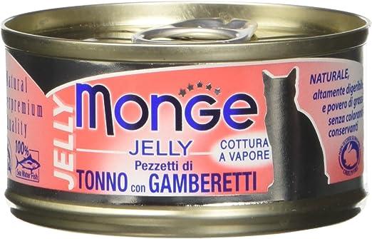 Monge, Jelly – Comida para Gatos, Tonno con gamberetti, 80 g, 1 ...