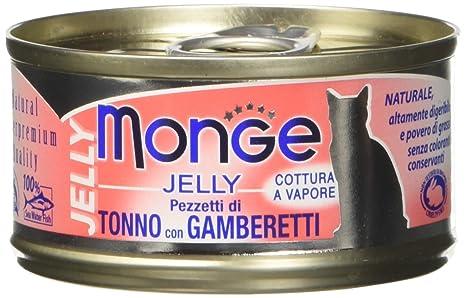 Monge, Jelly – Comida para Gatos, Tonno con gamberetti, 80 g, 1