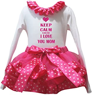 Petitebella My 3rd Mothers Day White Shirt Hearts Red Petal Skirt Nb-8y