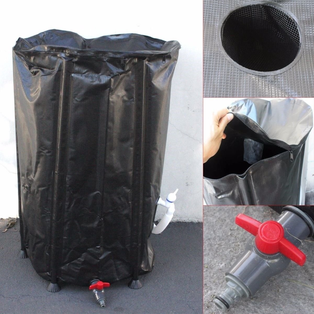 66 Gallon Collapsible Rain Water Barrel Collector Storage Spout Container Tank by TimmyHouse