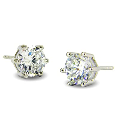 69e3590d82f8 Womens 6MM SIMULATED DIAMOND 9ct WHITE GOLD FILLED STUD EARRINGS 9K GF   Amazon.co.uk  Jewellery