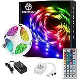 WenTop Led Strip Lights Kit 16.4 Ft (5M) 150leds 30leds/m 5050 SMD RGB LED Tape Lights with DC12V 44key Ir Remote Controller