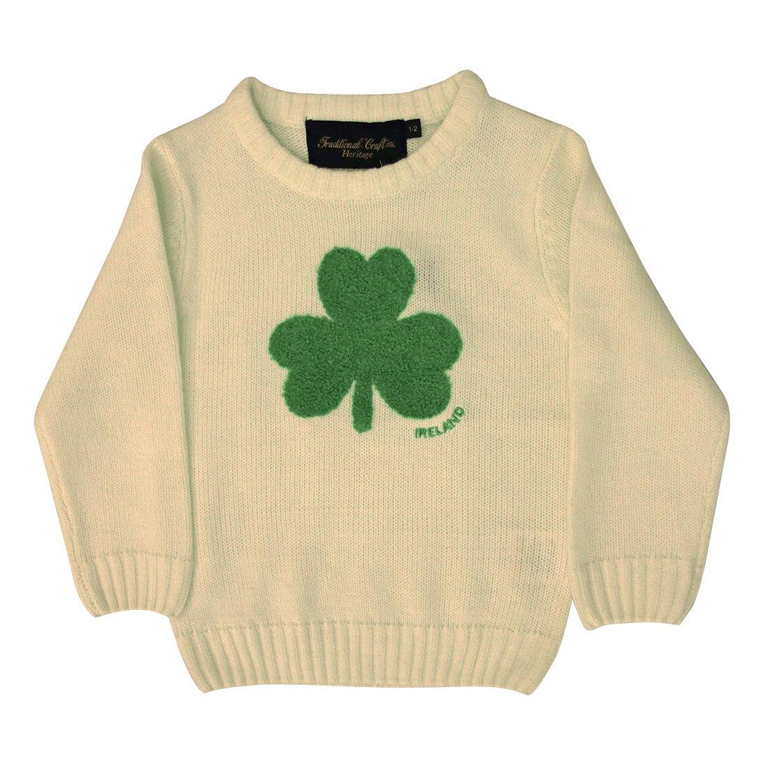 Other Brands Round Neck Ireland Kids Sweater with Fluffy Shamrock, Cream Colour