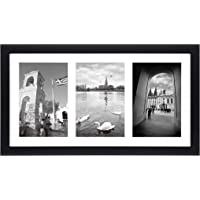 Golden State Art, 8.5x16.3 Black Photo Wood Collage Frame with REAL GLASS and White Mat displays (3) 5x7 pictures by Golden State Art