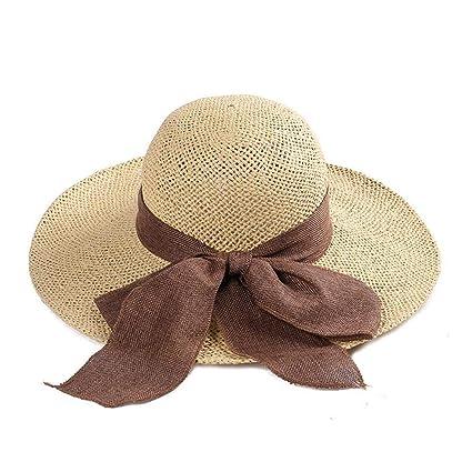 Yisaesa Gorra de Arco Sombrero de Paja ala Grande Sombrero para el Sol Mujer  Verano Playa a95b6891541