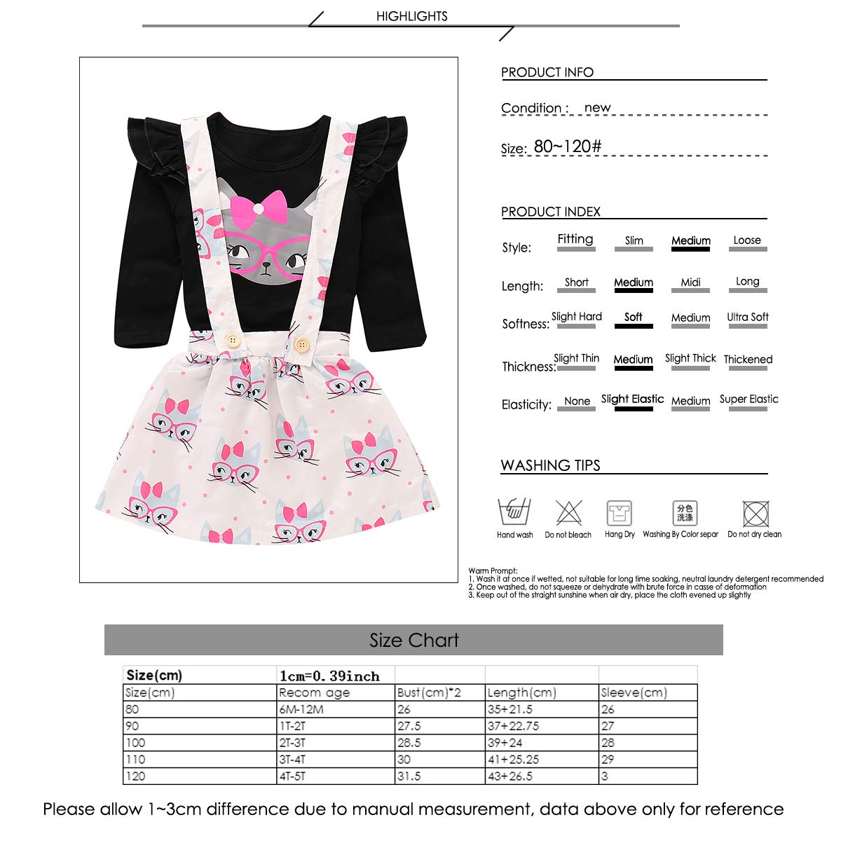 27706803405b Amazon.com: Toddler Baby Girls Cut Cat Ruffle Long Sleeve Shirt Tops  Suspender Skirt Overalls Outfits: Clothing