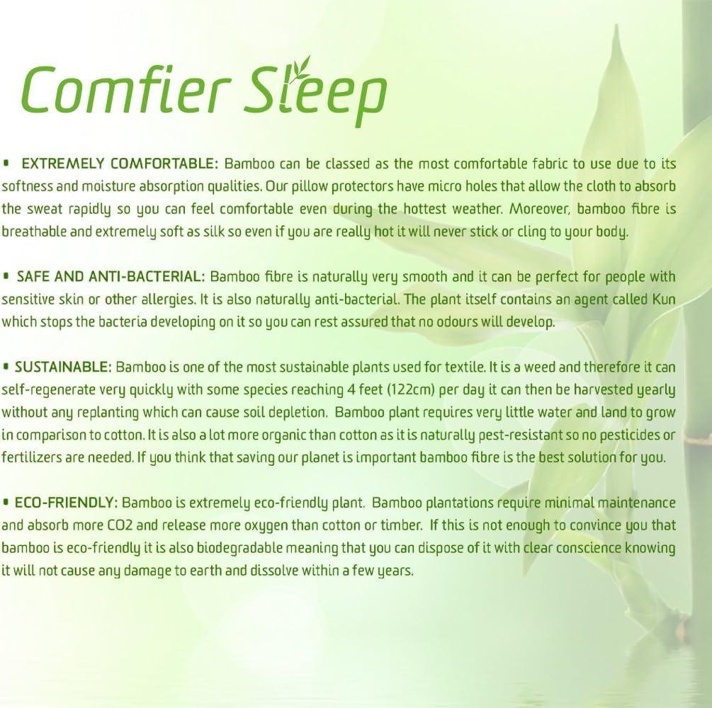 Anti-allerg/énique et 100 /% bambou lot de 2 Comfier Sleep Prot/ège-oreillers imperm/éables 65 x 65 cm avec fermeture /Éclair respirant taille standard convient aux oreillers de luxe//Lot de 2