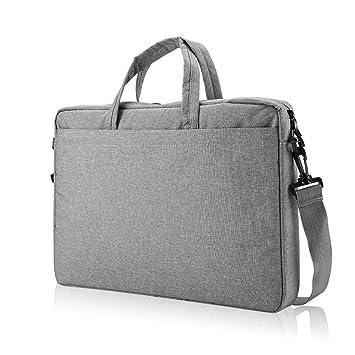 Grey 15.6 Inch Briefcase Shoulder Messenger Bag with Shoulder Strap and Handle Laptop Strap Bags Tablet Bag for 15.6 New MacBook Pro Fuaojia Laptop Shoulder Bag Computer Bags Ultrabook Netbook