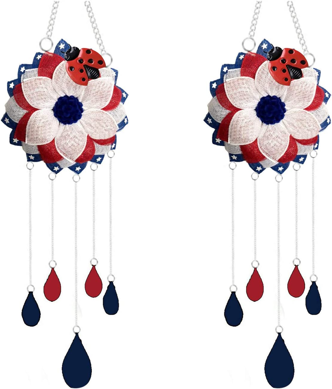 2PC Independence Day Wind Chime Pendant Crafts Living Room Bedroom Decorations, Outdoor Indoor Hanging Mobile Bell Windchime for Garden Lawn Yard Patio Waterproof Patriotic American Flag Home Decor