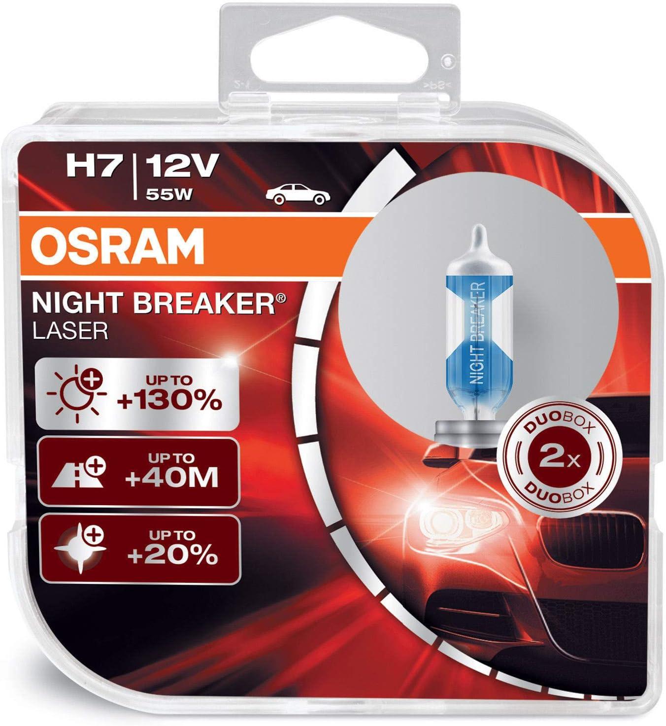 OSRAM Night Breaker Laser H7 + 130% Xenon Blanco Focos de Coche (2 Bombillas)
