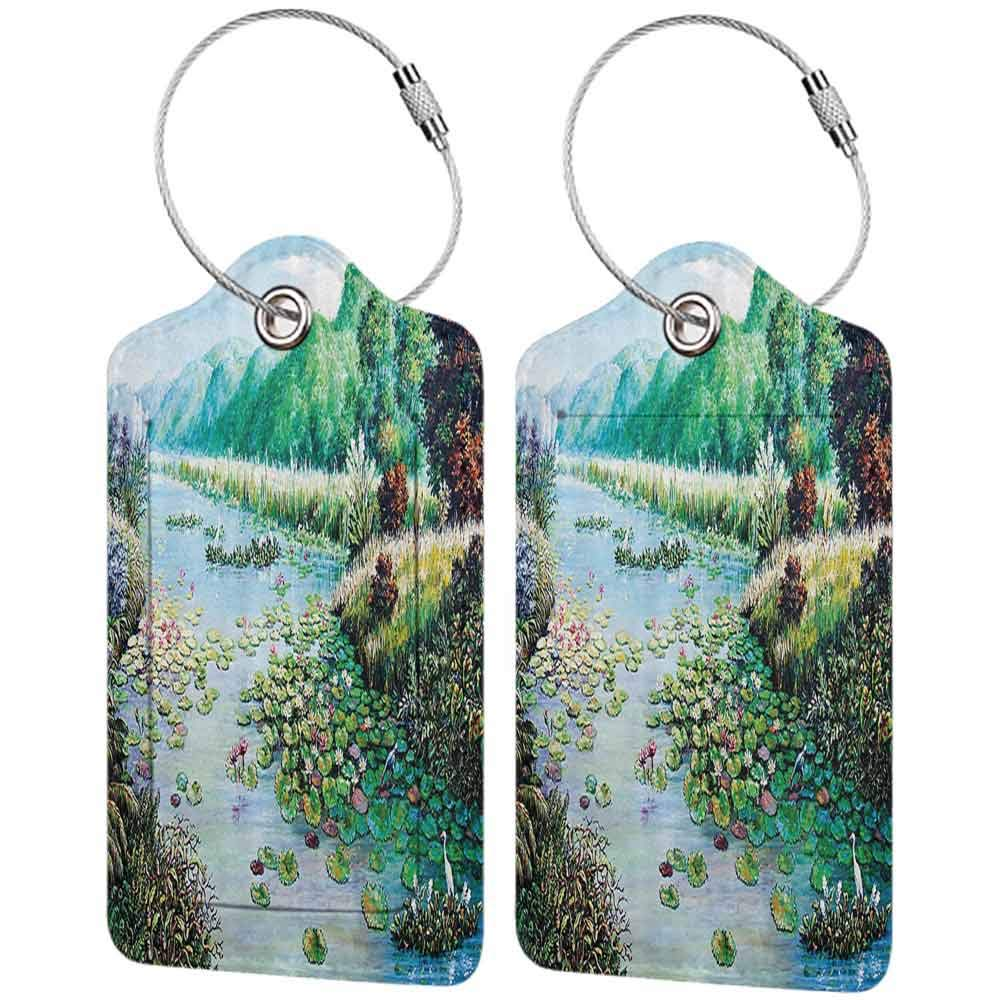Waterproof luggage tag Lakehouse Decor Collection Oil Painting View River Between Greenery Environment and Forest with Colorful Lotuses Inside Soft to the touch Teal Green Blue Brown W2.7 x L4.6