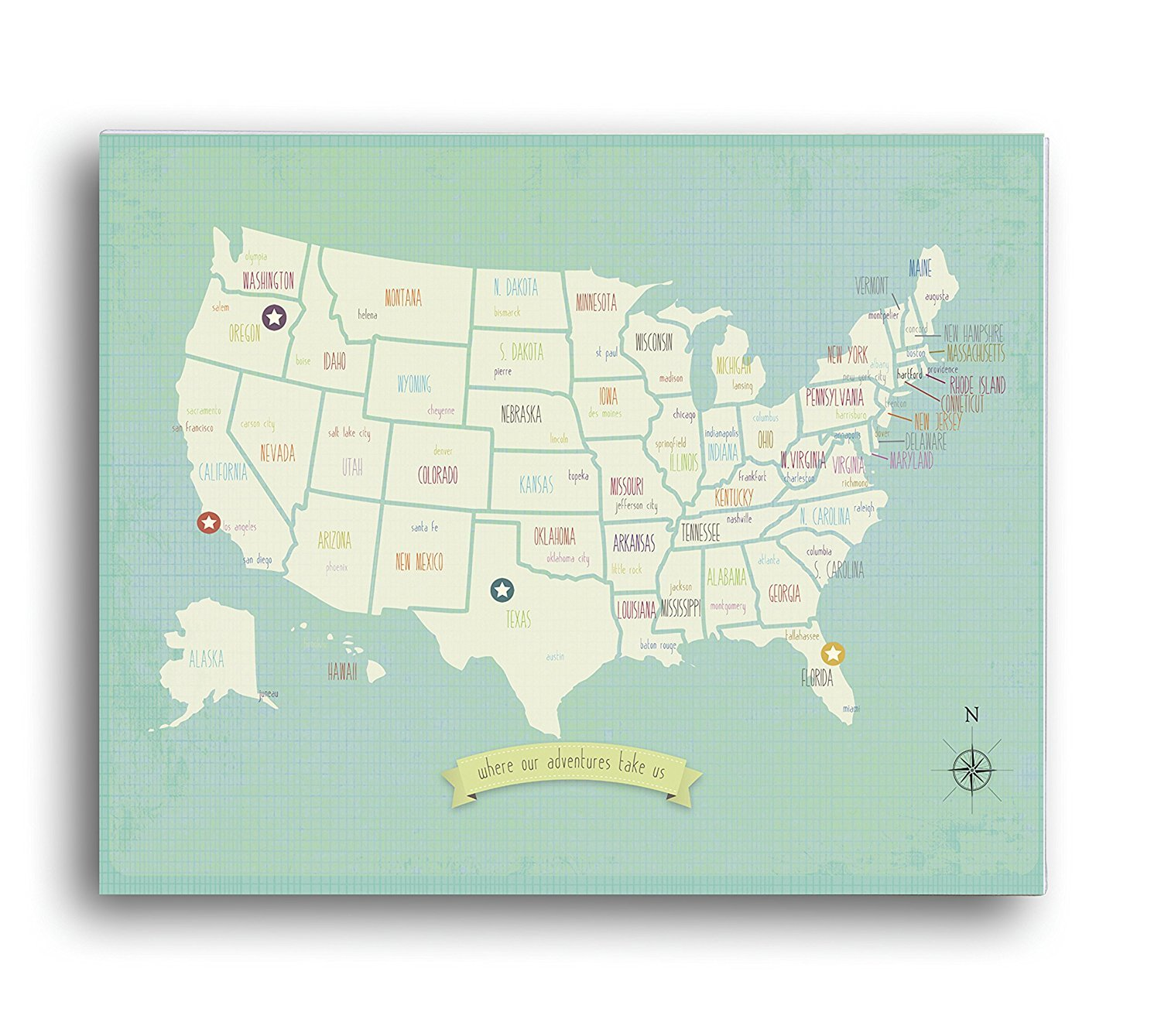 Kids USA Map Travel Nursery Decor Personalized Travel Map USA Travel Map Wall Art Print Gender Neutral Nursery Childrens Room Decor Customized Wall Map 16x20 Inch Canvas