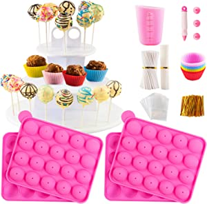 Cake Pop Maker Kit with 2 Silicone Mold Sets with 3 Tier Cake Stand, Chocolate Candy Melts Pot, Silicone Cupcake Molds, Paper Lollipop Sticks, Decorating Pen with 4 Piping Tips, Bag and Twist Ties