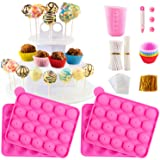 Cake Pop Maker Set with Silicone Molds with 3 Tier Cake Stand, Chocolate Candy Melts Pot, Paper Lollipop Sticks…