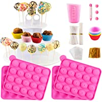 Cake Pop Maker Set with Pink Silicone Molds with 3 Tier Cake Stand, Chocolate Candy Melts Pot, Paper Lollipop Sticks…