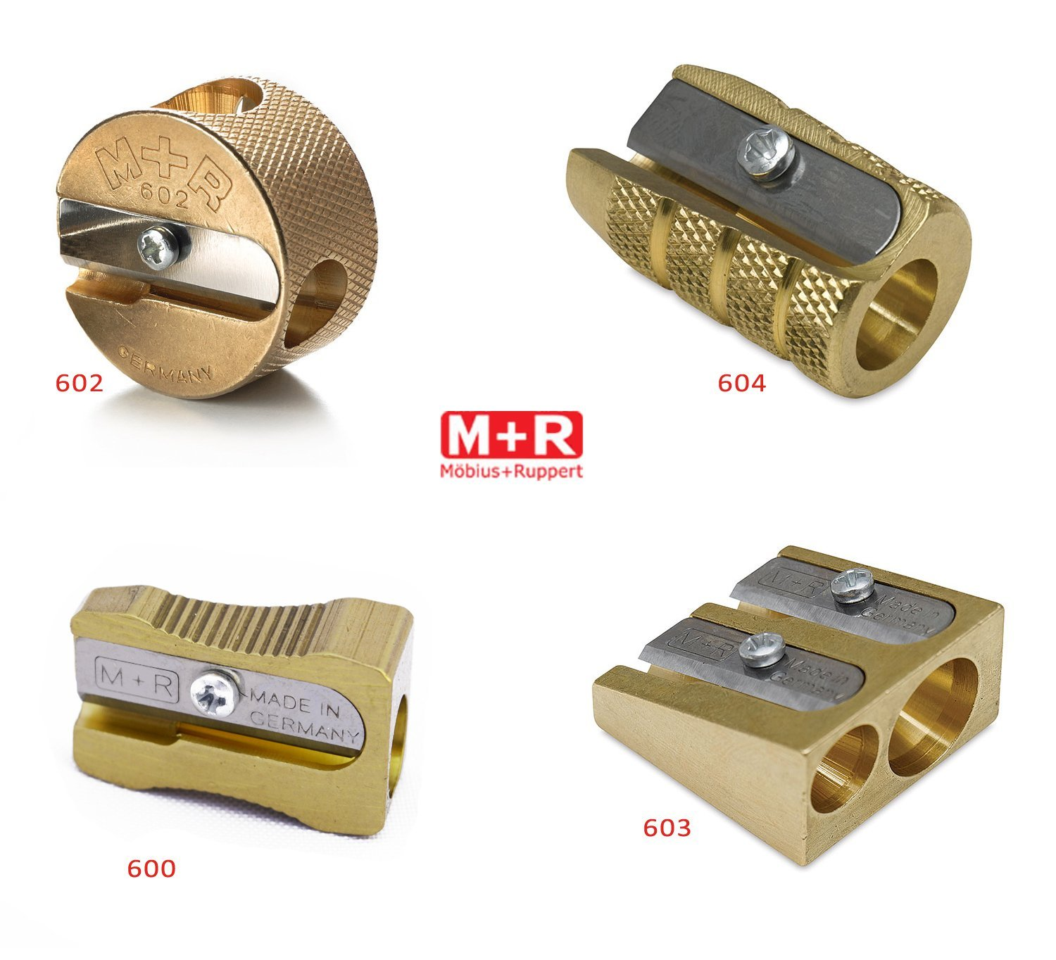 All 4 Styles of Mobius + Ruppert (M+R) Brass Pencil Sharpener - includes all 4 shapes! Made in Germany - finest in the world!
