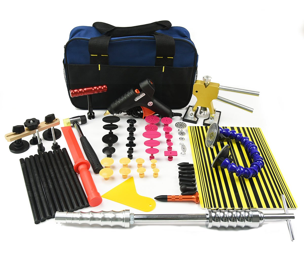 PDR Tool Kit Furuix 56pcs PDR Slide Hammer Dent Lifter Dent Removal Repair Tool Kits Paintless Dent Repair Hail Removal Tool Automotive Tool PDR Tools DIY Car Dent Repair Kit