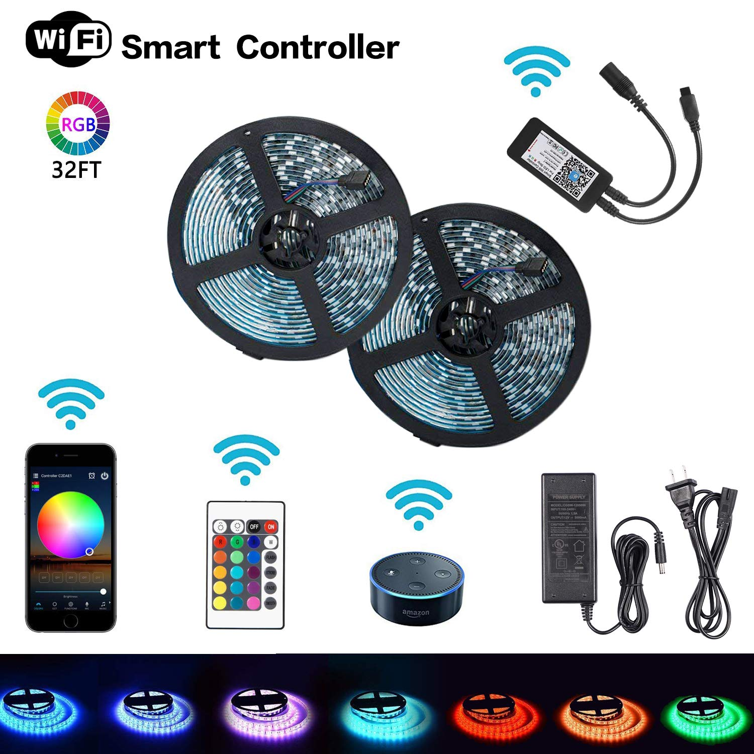 MIECOO LED Strip Lights, WiFi Wireless Smart Phone Controlled Light Strip Kit 32.8ft 300leds 5050 RGB Waterproof IP65 LED Lights, Working with Android and iOS System, Alexa, IFTTT, Google Assistant