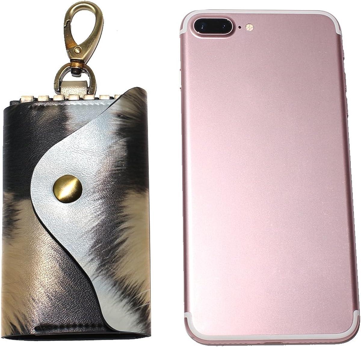 DEYYA Husky Sled Ddogs Leather Key Case Wallets Unisex Keychain Key Holder with 6 Hooks Snap Closure