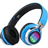 Riwbox WT-07 Folding Wireless Bluetooth Stereo Headphones Adjustable Headsets with 3 LED lights (blue)