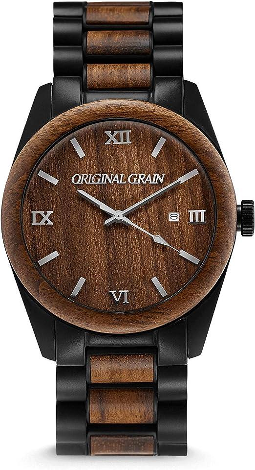lågt pris detaljerade bilder ansedd webbplats Amazon.com: Original Grain Ebony Black Wood Watch - Classic ...
