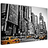 CANVAS WALL ART PICTURES BLACK AND WHITE NEW YORK PHOTO WITH YELLOW TAXIS NEW MODERN ART PRINTS