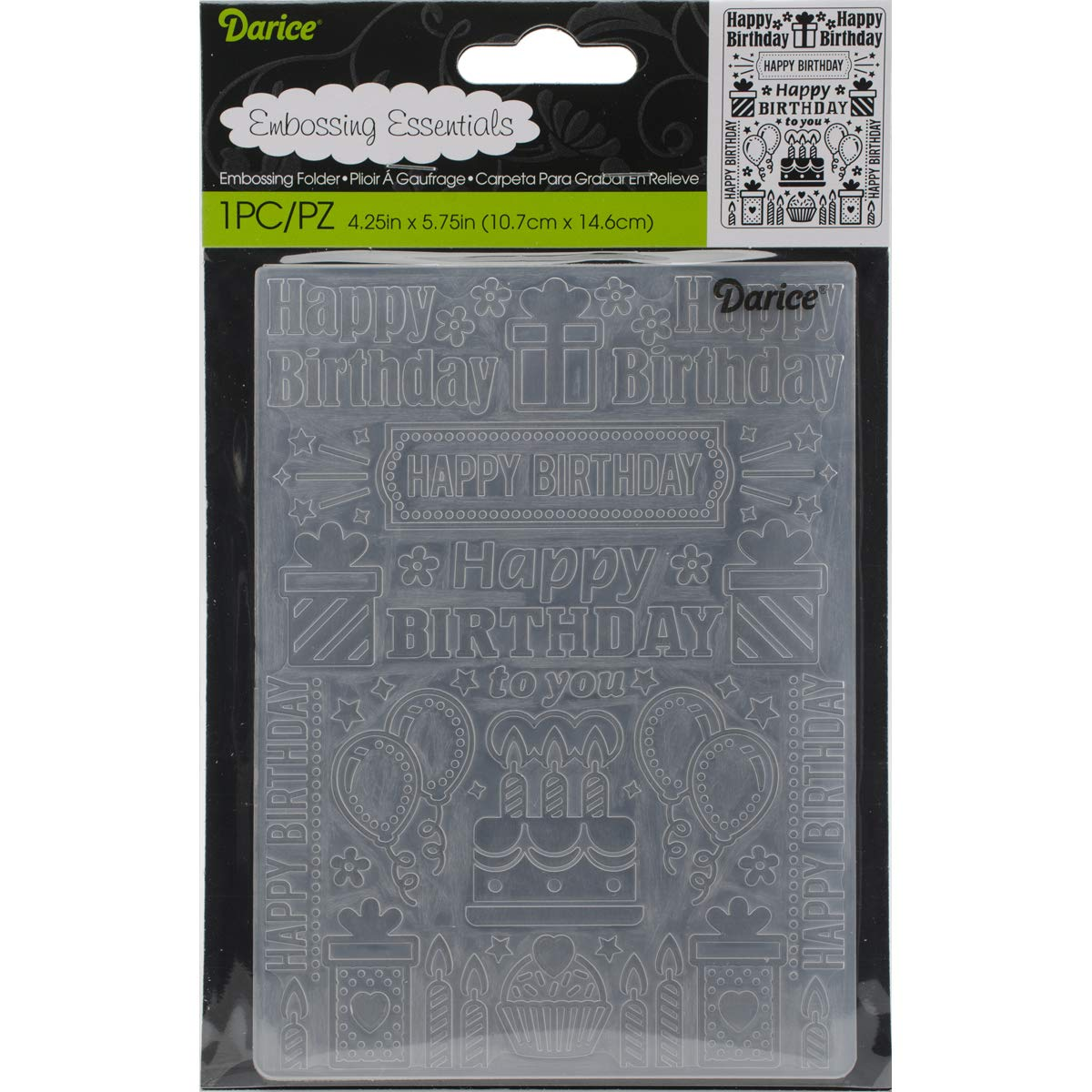 Embossing Folder Birthday Collage 4.25 X 5.75 Inches (4 Pack)