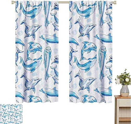 Print Pattern Curtains Sea Animals Decor,Sketch of Bottlenose Dolphins Playing Laughing in Ocean Life Print,Turqouise White,for Bedroom Kitchen Living Room 120 W x 96 L