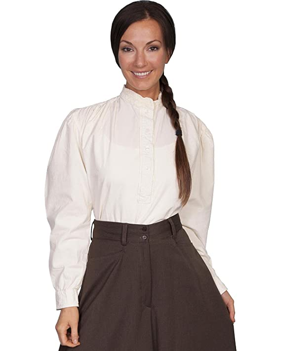 Victorian Clothing, Costumes & 1800s Fashion Scully Rangewear Womens Rangewear Frontier Long Sleeve Top - Rw534ivo $62.61 AT vintagedancer.com